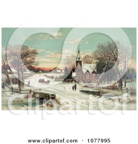 People Gathering at a Small Village Church on a Snowy Christmas Eve - Royalty Free Historical Clip Art by JVPD