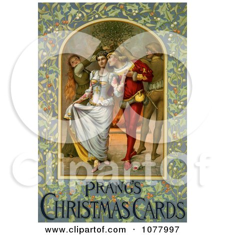 Young Medieval Couple Walking Under Mistletoe Near a Fire on Christmas Posters, Art Prints