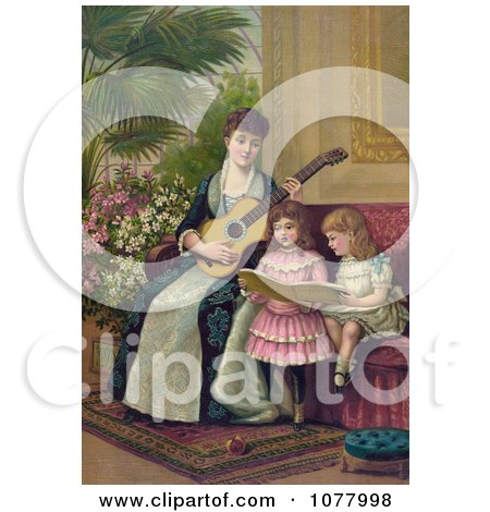 Mother and Two Little Girls Singing a Christmas Carol - Royalty Free Historical Clip Art by JVPD