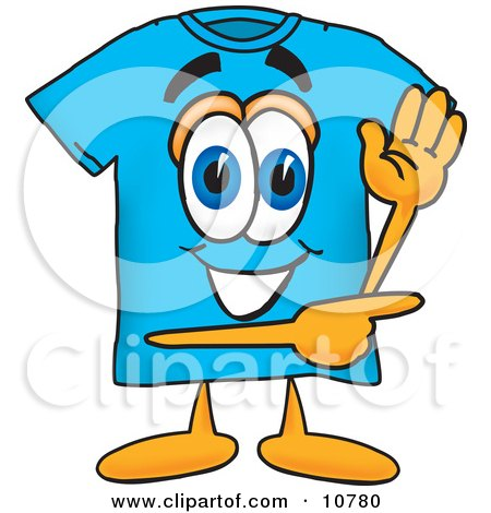 Clipart Picture of a Blue Short Sleeved T-Shirt Mascot Cartoon Character Waving and Pointing by Toons4Biz