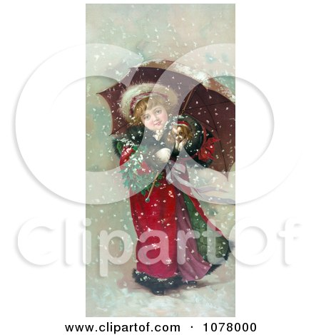 Girl And Dog in Snow Storm - Royalty Free Historical Clip Art by JVPD