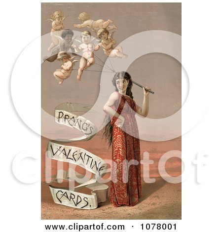 Woman With Cherub Balloons - Royalty Free Historical Clip Art  by JVPD