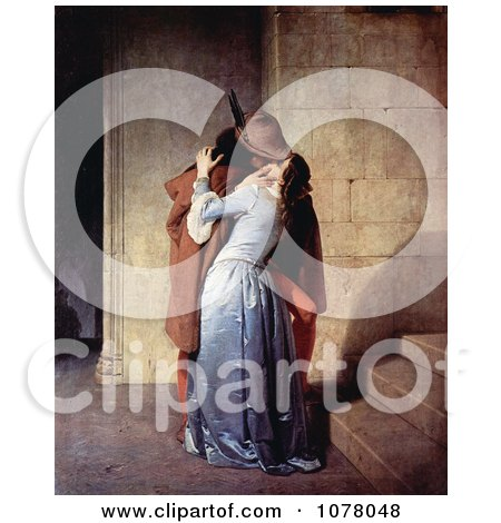 Man Passionately Kissing a Woman at the Base of a Staircase, The Kiss, by Francesco Hayez - Royalty Free Historical Clip Art by JVPD