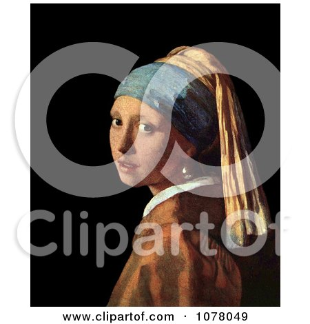 Girl With a Pearl Earring by Johannes Vermeer - Royalty Free Historical Clip Art by JVPD