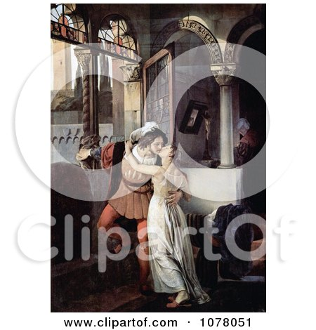 Man and Woman Embracing and Kissing Passionately, Romeo and Juliet Posters, Art Prints