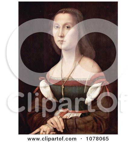 Portrait of a Young Woman Named La Muta, by Raphael - Royalty Free Historical Clip Art by JVPD