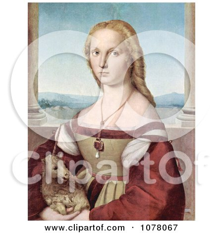 Portrait of a Young Woman With a Baby Unicorn - Royalty Free Historical Clip Art by JVPD