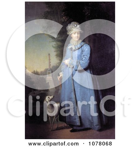 Queen Catherine the Great With Her Whippet Dog in the Garden of Tsarskoye Selo - Royalty Free Historical Clip Art by JVPD