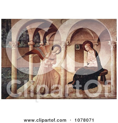The Annunciation, Mary Mother of Jesus and Archangel Gabriel - Royalty Free Historical Clip Art by JVPD