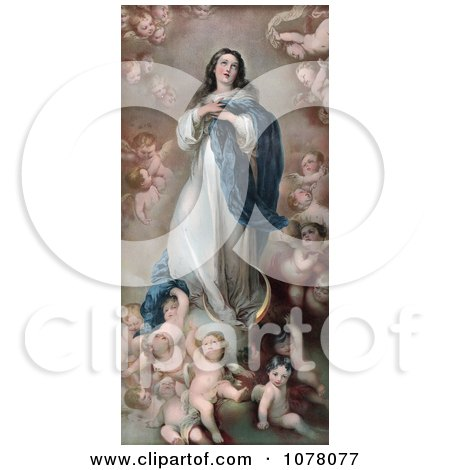 Mary as the the Immaculate Conception With Clouds and Cherubs - Royalty Free Historical Clip Art by JVPD