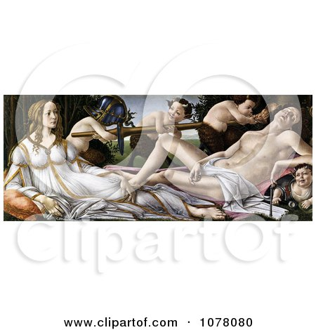 Painting of the Gods Venus and Mars and Satyrs by Alessandro Botticelli - Royalty Free Historical Clip Art by JVPD
