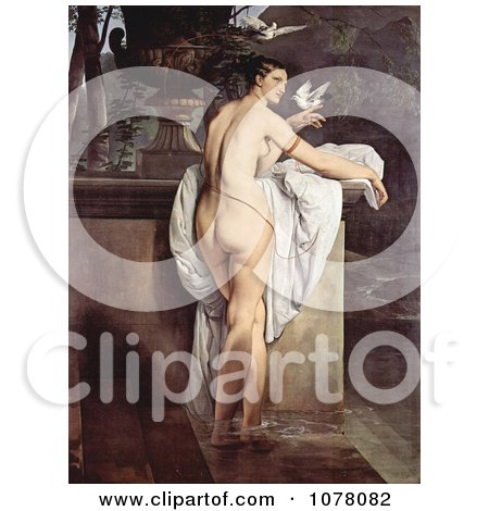 Carlotta Chabert as Venus, Standing Nude in a Garden With Doves by Francesco Hayez - Royalty Free Historical Clip Art by JVPD