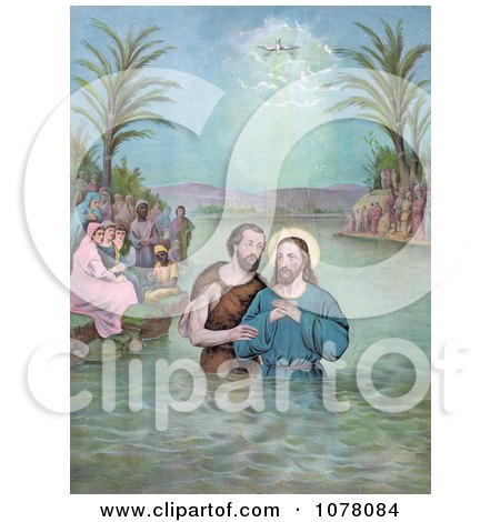 Dove by a Ray of Light Shining Down From Heaven Upon the Baptism of Jesus Christ - Royalty Free Historical Clip Art by JVPD
