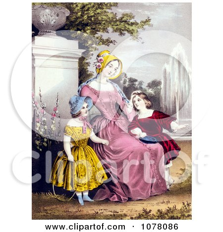 Mother With Son and Daughter by a Water Fountain in a Park - Royalty Free Historical Clip Art by JVPD