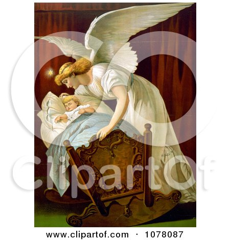 Angel Rocking a Baby Cradle - Royalty Free Historical Clip Art by JVPD