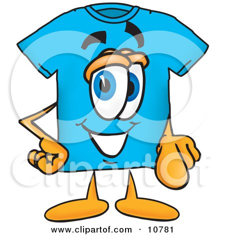 Clipart Picture of a Blue Short Sleeved T-Shirt Mascot Cartoon Character Pointing at the Viewer by Toons4Biz