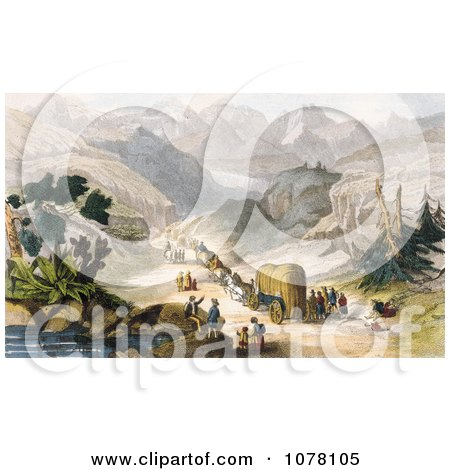 Emigrant Party Wagon Train - Royalty Free Historical Clip Art by JVPD