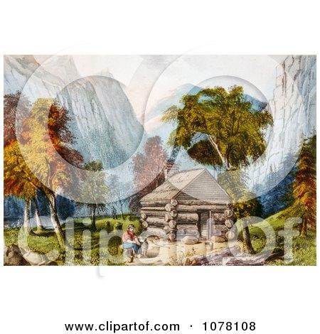 Log Cabin in Yosemite - Royalty Free Historical Clip Art by JVPD