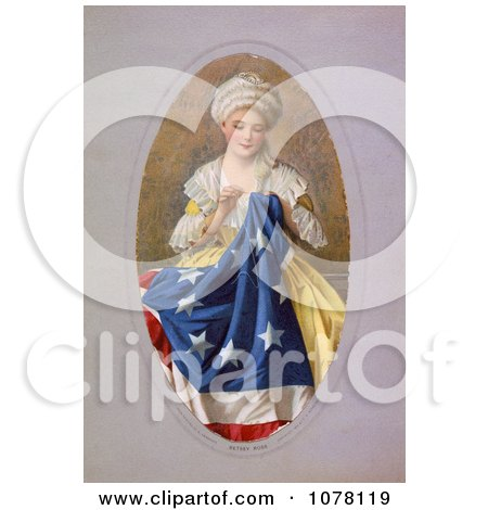 Betsy Ross Sewing the Betsy Ross Flag - Royalty Free Historical Clip Art by JVPD