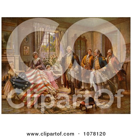 The Birth of Old Glory, Betsy Ross Flag - Royalty Free Historical Clip Art by JVPD
