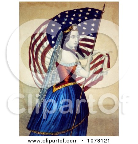 Woman Carrying the Star Spangled Banner - Royalty Free Historical Clip Art by JVPD
