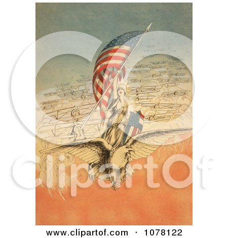 Columbia on an Eagle, Holding Flag, Followed by Airplanes - Royalty Free Historical Clip Art by JVPD