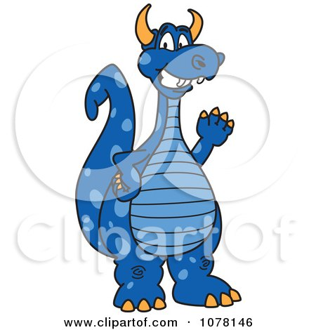 Blue Dragon School Mascot Waving Posters, Art Prints