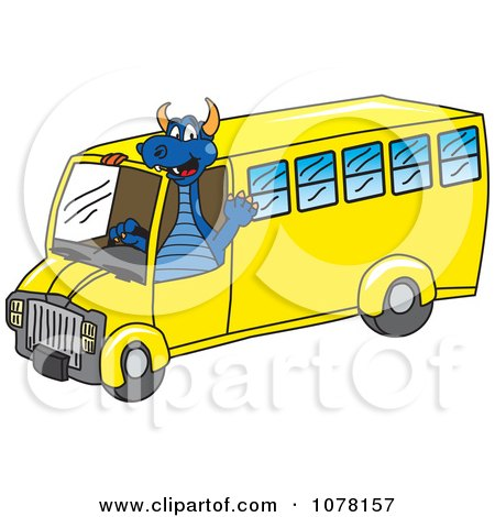 Clipart Blue Dragon School Mascot Driving A School Bus - Royalty Free Vector Illustration by Toons4Biz