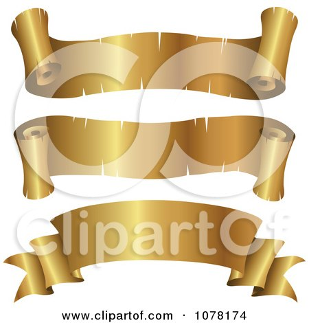 Clipart 3d Blank Golden Parchment Ribbon Banners - Royalty Free Vector Illustration by cidepix