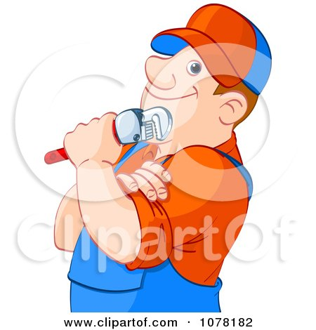 Clipart Thoughtful Plumber Holding A Wrench - Royalty Free Vector Illustration by Pushkin