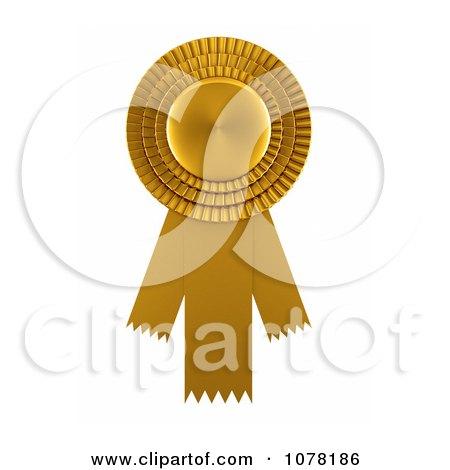 Clipart 3d Gold Award Ribbon - Royalty Free CGI Illustration by stockillustrations
