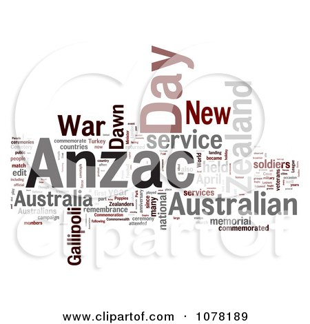 Clipart Gray Red And Black Anzac Day Word Collage - Royalty Free Illustration by MacX