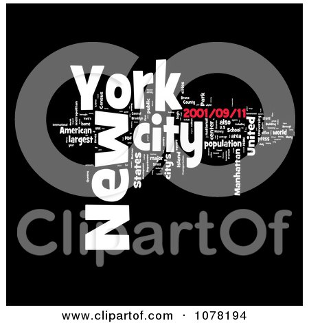 Clipart Red Black And White New York City Word Collage - Royalty Free Illustration by MacX
