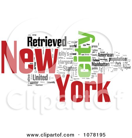 Clipart Colorful New York City Word Collage 1 - Royalty Free Illustration by MacX