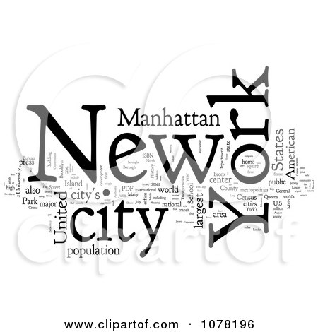 Clipart Black And White New York City Word Collage - Royalty Free Illustration by MacX