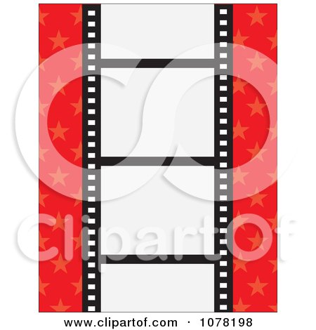 Clipart Film Strip With Blank Frames On A Red Starry Background - Royalty Free Vector Illustration by Maria Bell