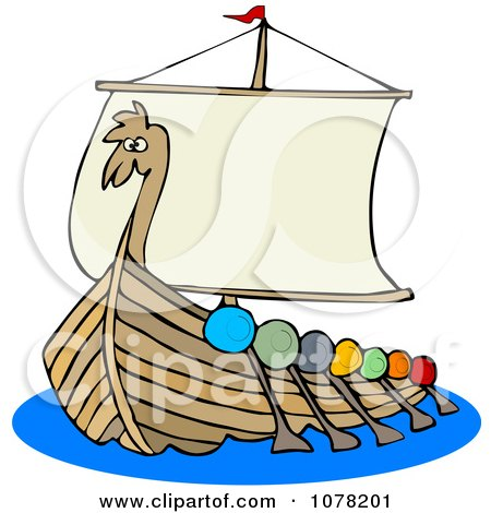 Clipart Viking Dragon Ship With Oars - Royalty Free Vector Illustration by djart
