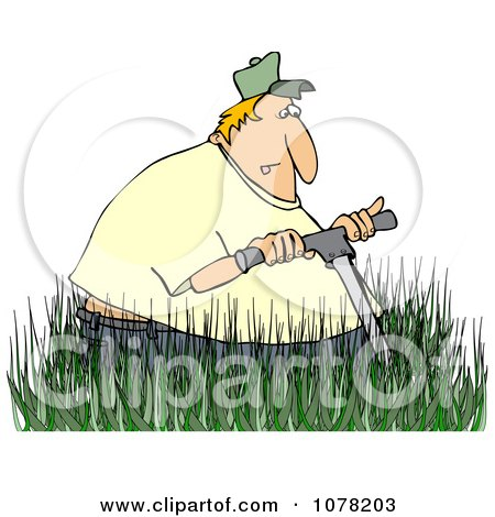 Clipart White Man Mowing In Really Tall Grass - Royalty Free Vector Illustration by djart