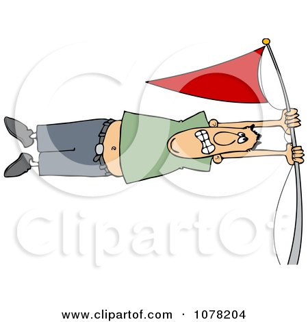 Clipart White Man Holding Onto A Flag Pole In High Winds - Royalty Free Vector Illustration by djart
