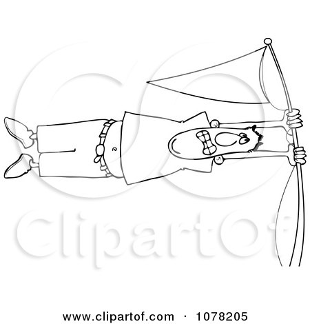 Clipart Outlined Man Holding Onto A Flag Pole In High Winds - Royalty Free Vector Illustration by djart