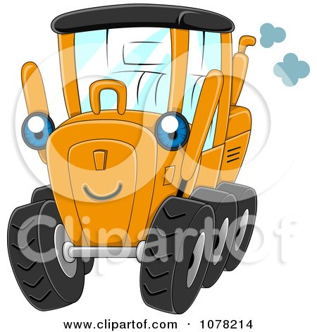Clipart Blue Eyed Motor Grader Character - Royalty Free Vector Illustration by BNP Design Studio