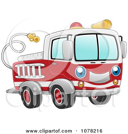 Clipart Blue Eyed Fire Truck Character - Royalty Free Vector Illustration by BNP Design Studio
