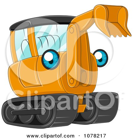 Clipart Blue Eyed Orange Excavator Character - Royalty Free Vector Illustration by BNP Design Studio