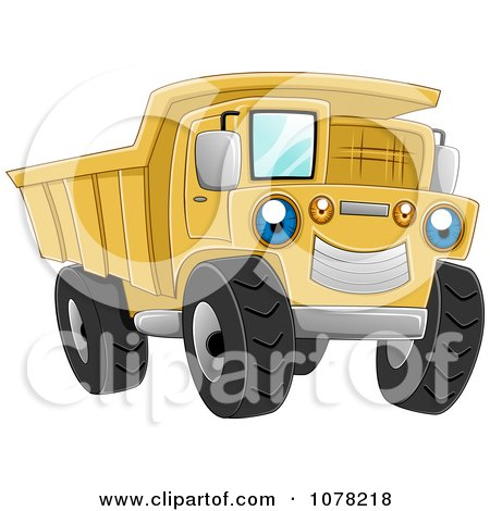 Clipart Blue Eyed Yellow Dump Truck Character - Royalty Free Vector Illustration by BNP Design Studio