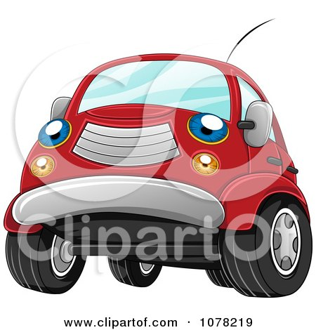 Clipart Blue Eyed Red Car Character - Royalty Free Vector Illustration by BNP Design Studio