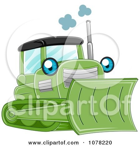 Clipart Blue Eyed Green Bulldozer Character - Royalty Free Vector Illustration by BNP Design Studio