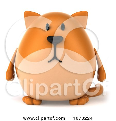 Clipart 3d Ginger Cat Facing Front - Royalty Free CGI Illustration by Julos
