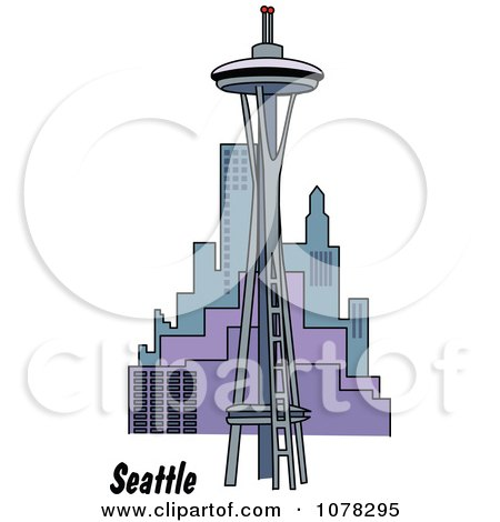 Clipart The Space Needle And Seattle Washington Skyline - Royalty Free Vector Illustration by Andy Nortnik