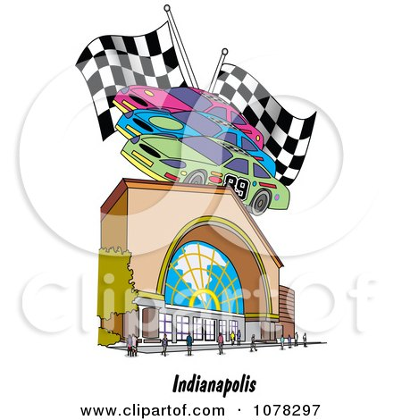 Clipart Motor Speedway Race Cars And Flags Over A Building In Indianapolis Indiana - Royalty Free Vector Illustration by Andy Nortnik