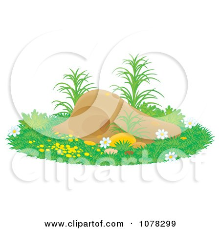 Clipart Gopher Or Mole Hill With Flowers And Grass - Royalty Free Illustration by Alex Bannykh